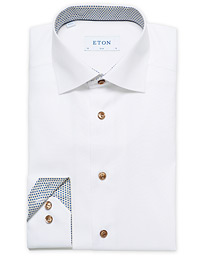 Slim Fit Contrast Cut Away Shirt White