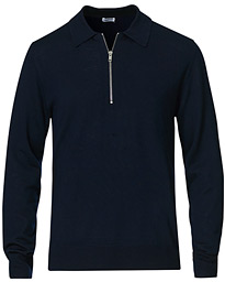 Shawn Wool Zip Polo Navy