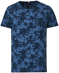 All Over Printed Crew Neck Tee Faded Indigo