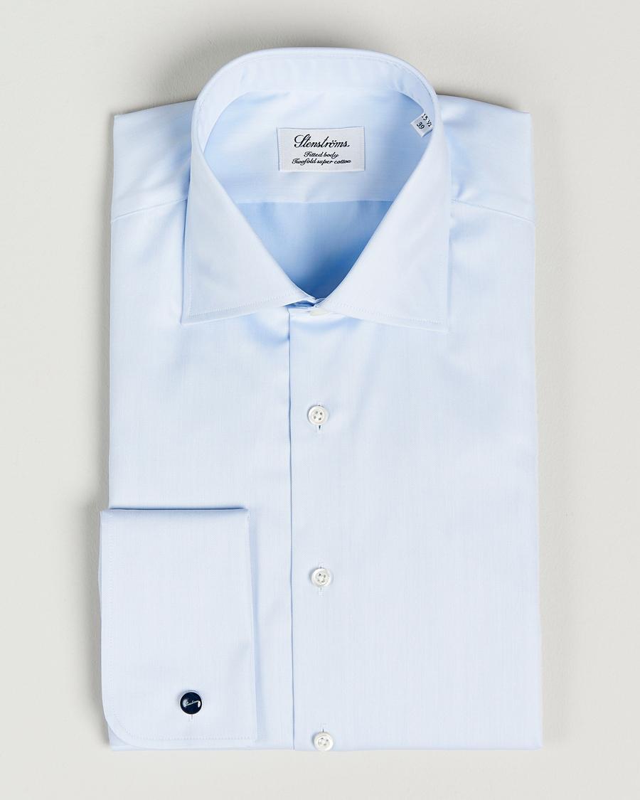 Stenströms Fitted Body Shirt Double Cuff Blue i gruppen Kläder   Skjortor    Formella   Formella 142a4aa017aef