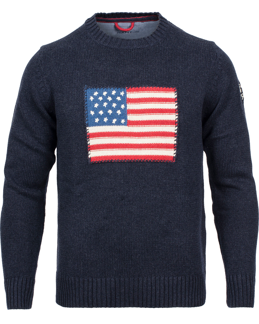 GANT Crispy Cotton Flag Crew Sweater Navy Melange