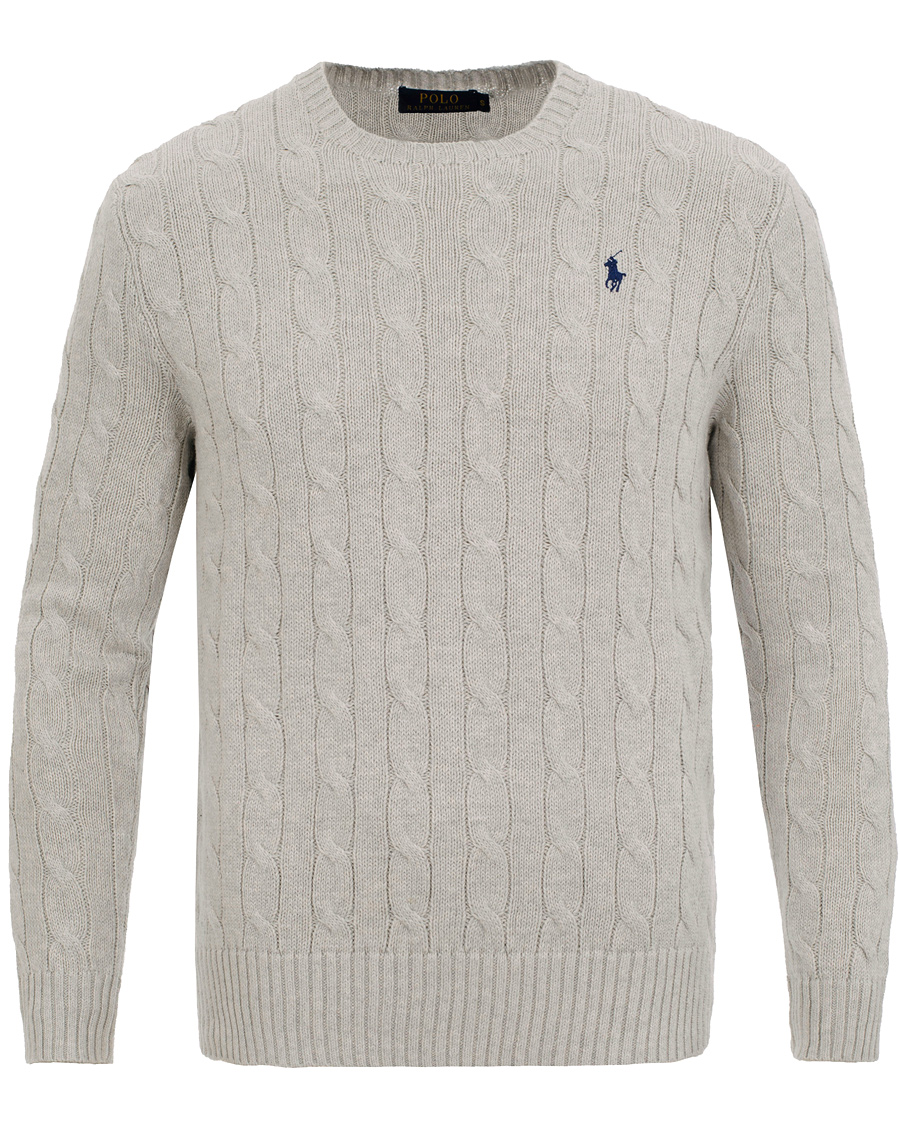Pullover Crew Lauren Neck Polo Ralph Cable Light Cotton Grey 0y8OvnmNwP