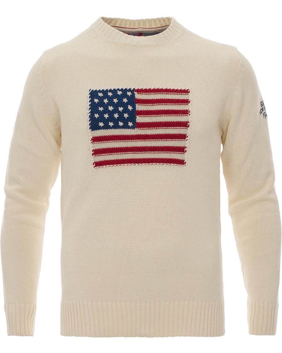 GANT Crispy Cotton Flag Crew Sweater Cream hos