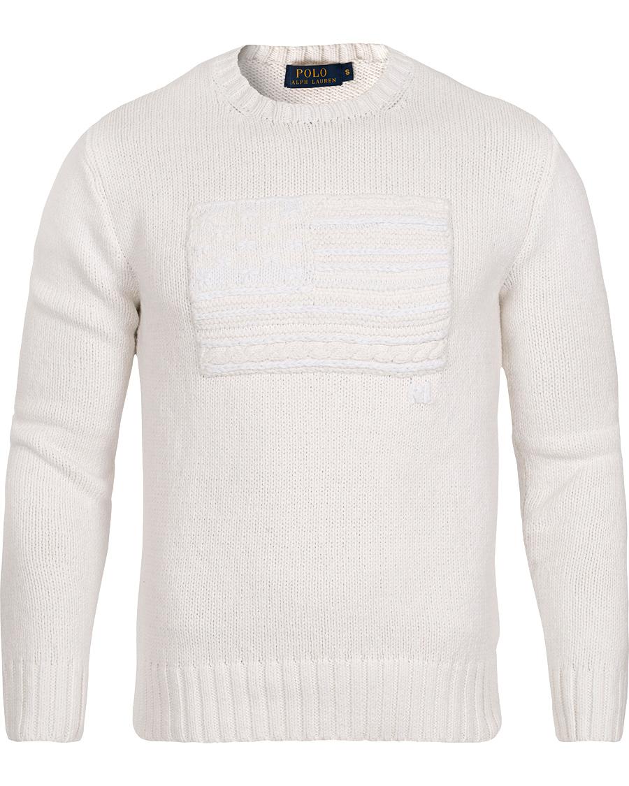 Polo Ralph Lauren Flag Crew Neck Sweater Deckwash White hos