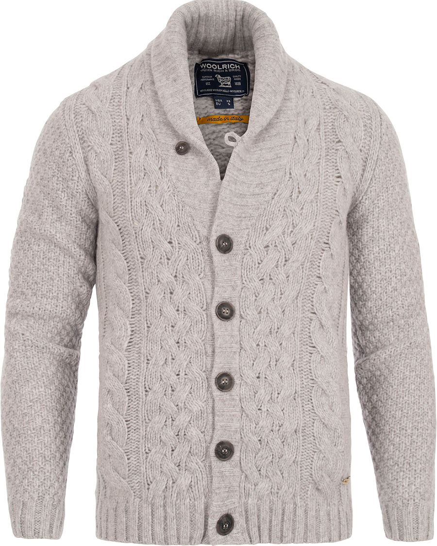 save off 25702 f2c5c Woolrich Merinos Air Wool Cardigan Cristal Grey hos ...