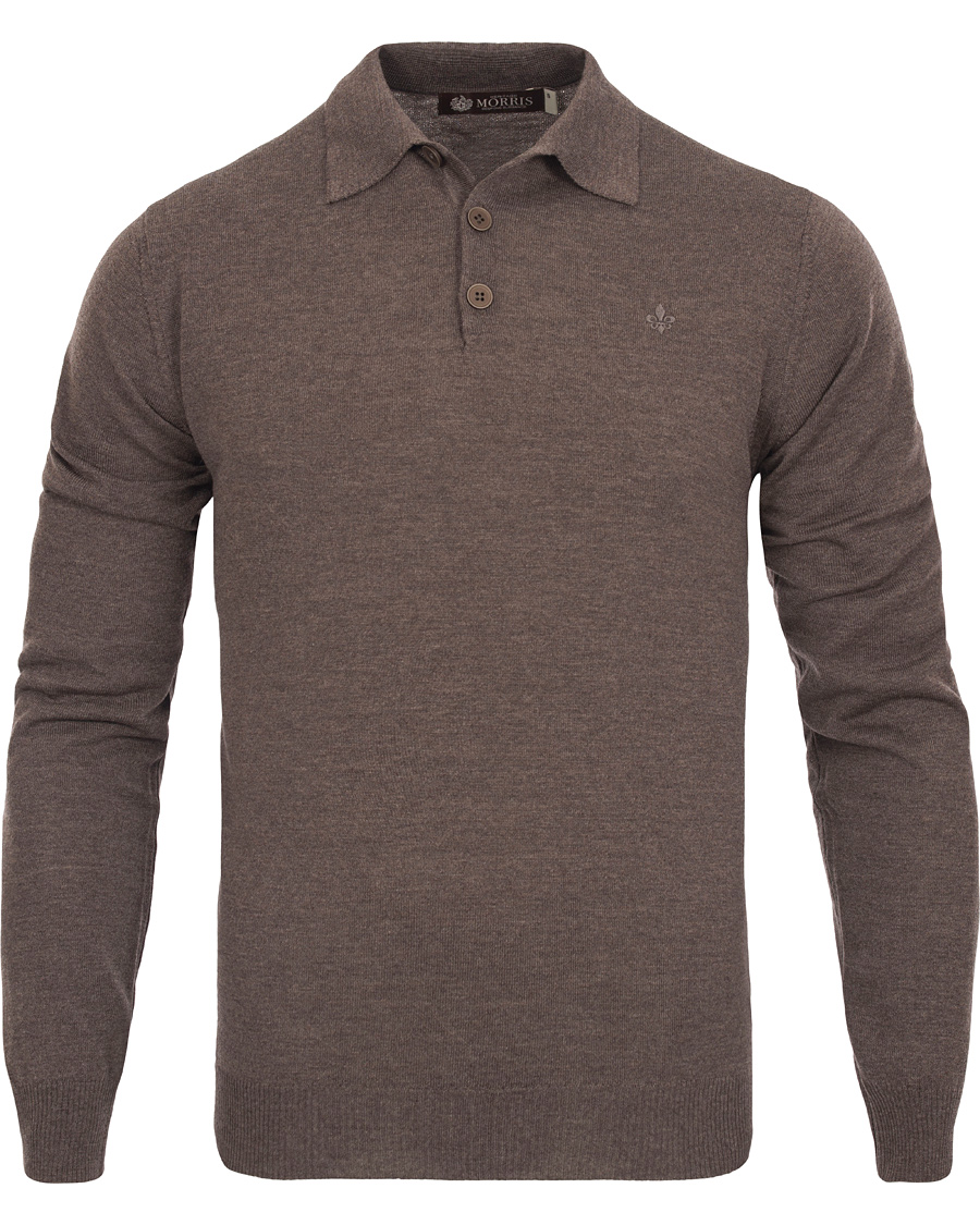 Morris Heritage Knitted Polo Shirt Brown S