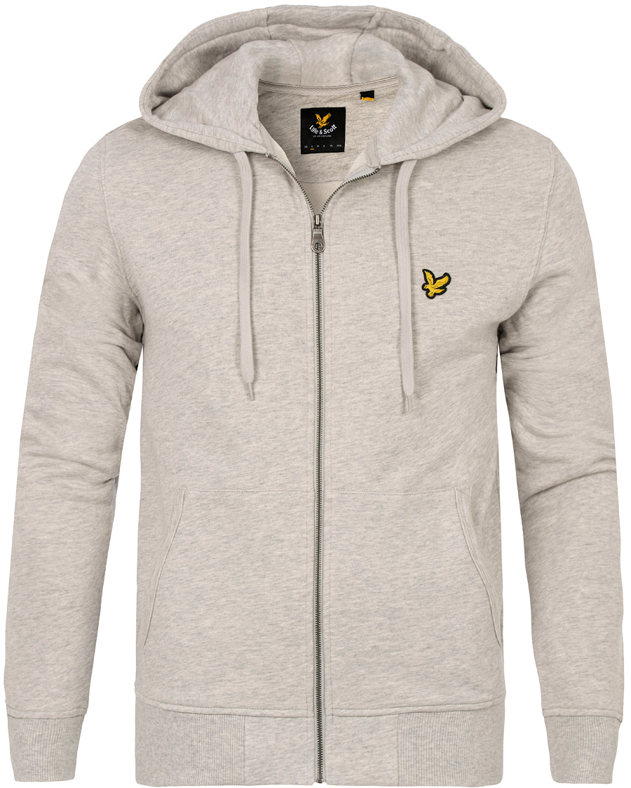 Lyle & Scott Zip Through Hoodie Light Grey Marl