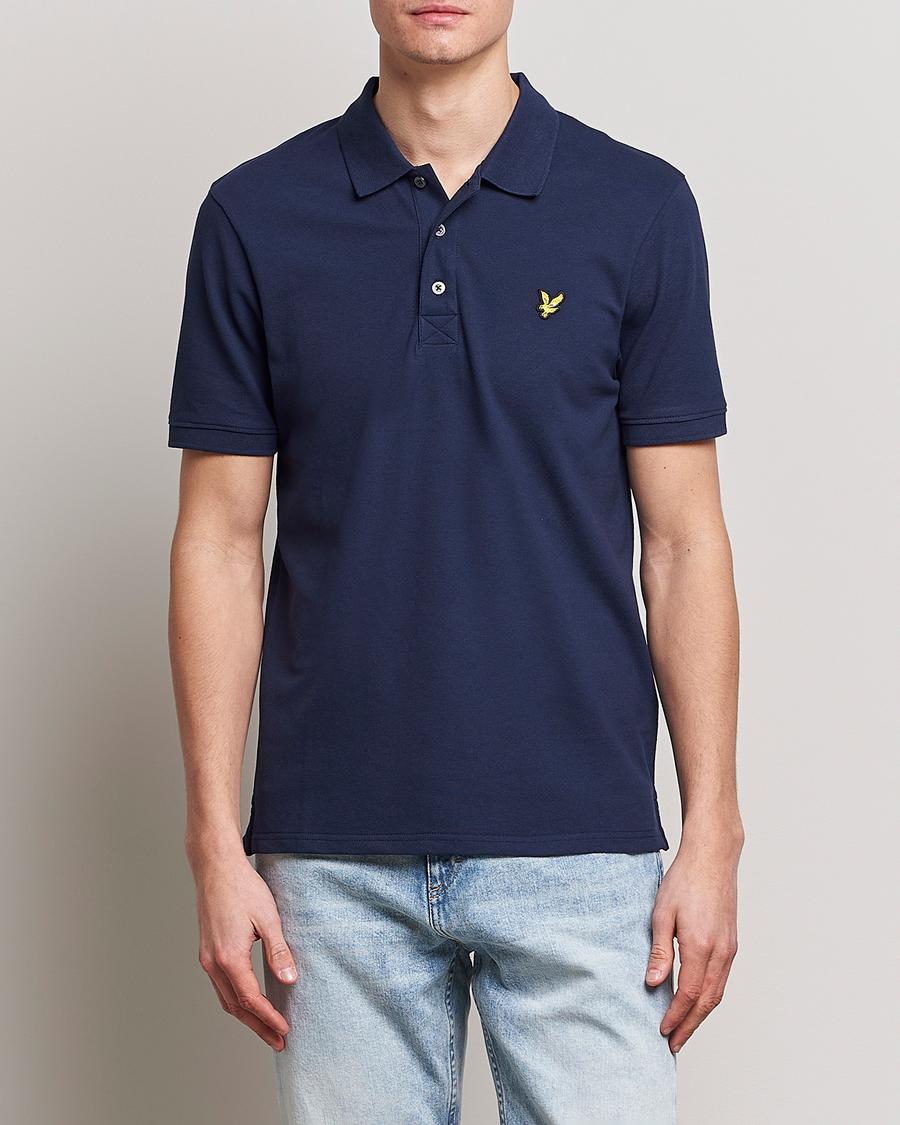 Mens Polo Shirt FORAY Marina Pique Cotton Polo Shirt Navy
