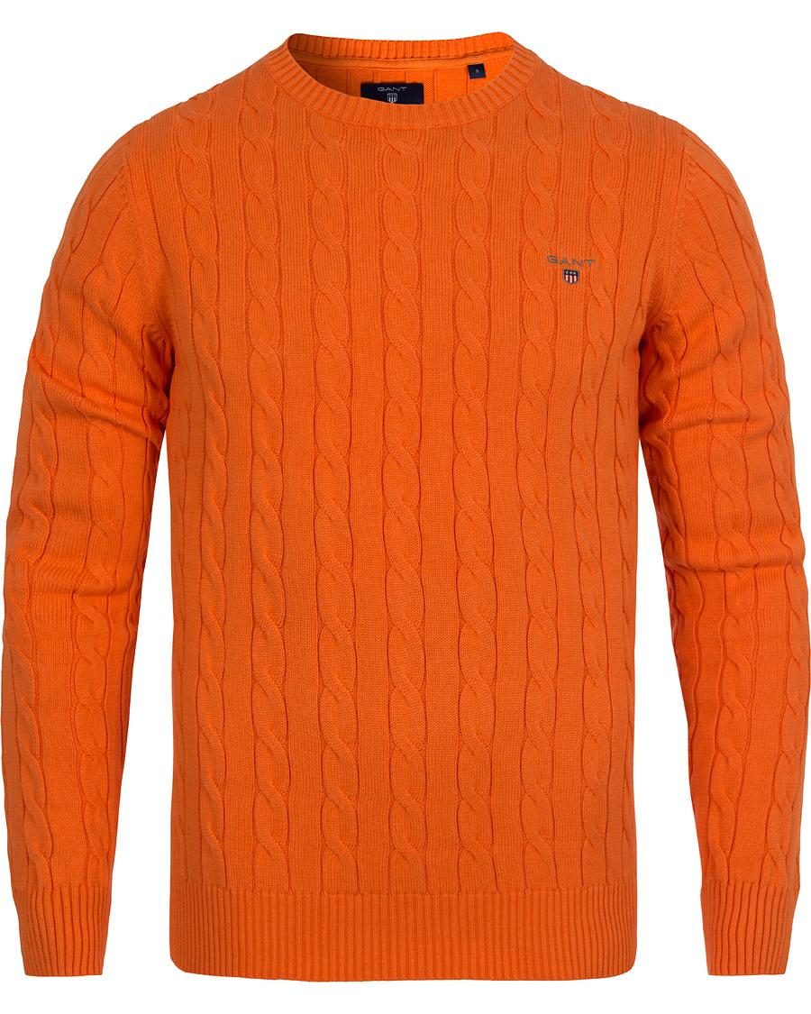 GANT Cotton Cable Crew Neck Sunny Orange