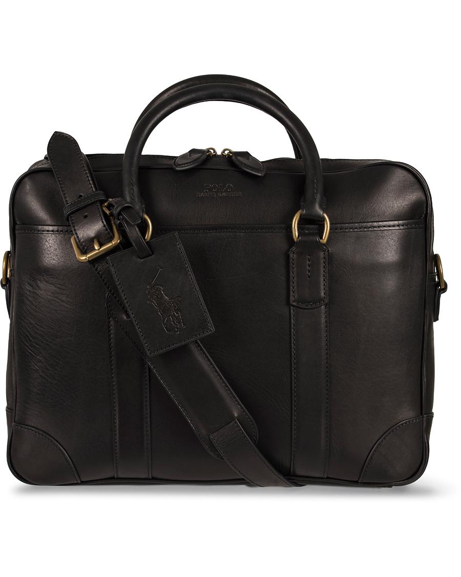 2edadb224f1e Polo Ralph Lauren Commuter Leather Bag Black hos CareOfCarl.com
