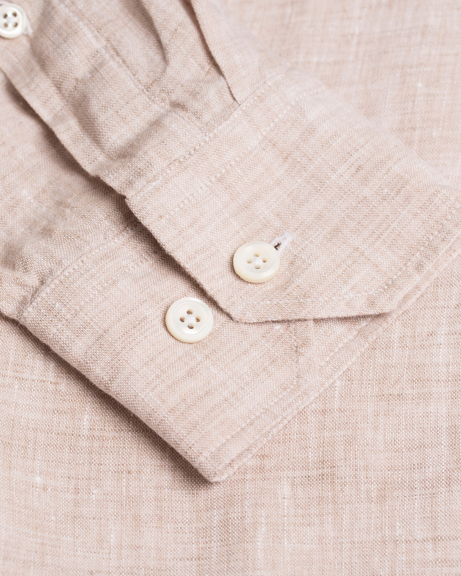 Oscar Jacobson Harry Slim Fit Button Down Shirt Beige hos