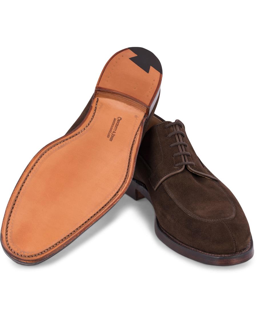 for whole family to buy 100% quality Crockett & Jones MTO Langdon Split Toe Derby Dark Brown Suede