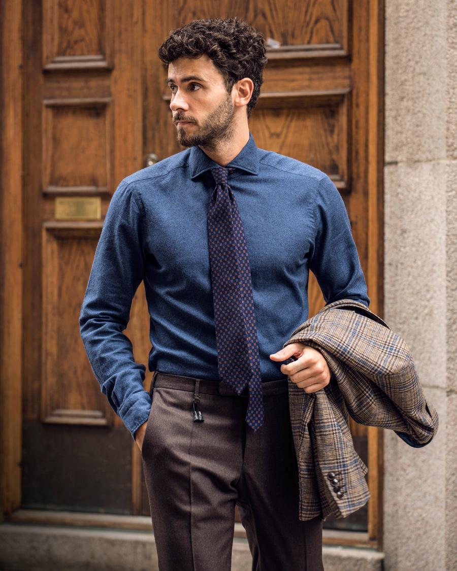 79f2e638b70c Incotex Super 100´s Light Flannel Trousers Dark Brown hos CareOfC