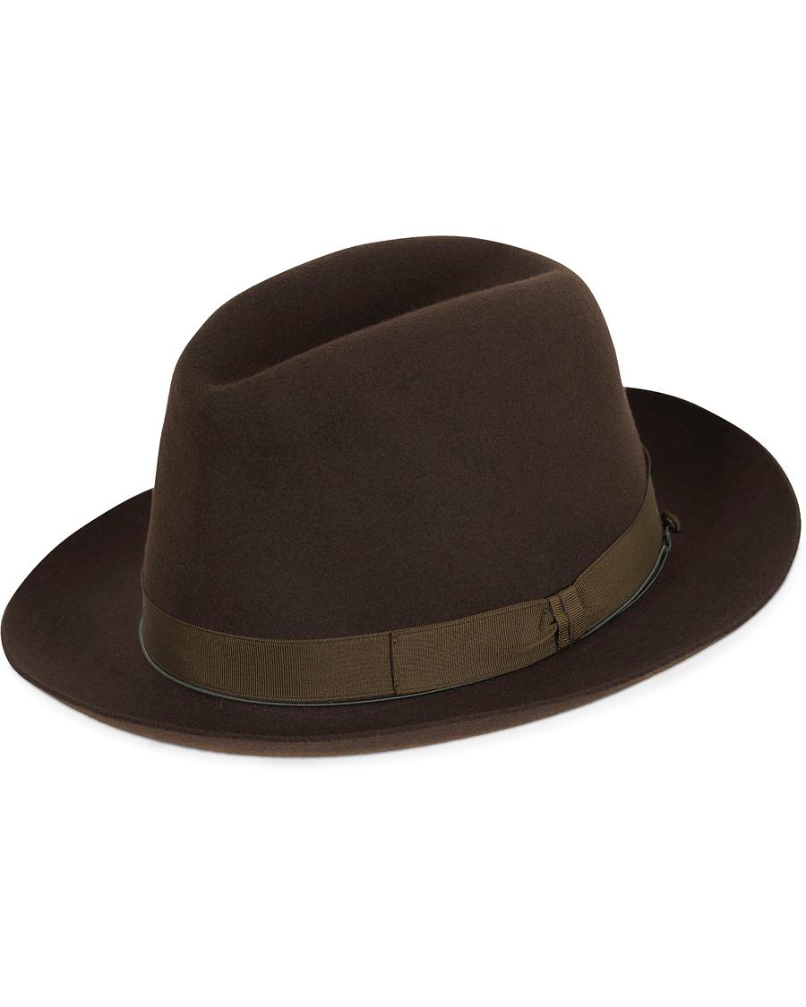 Borsalino Fedora Vicuña Rabbit Felt Hat Folco Dark Brown hos Care 040226285ee3