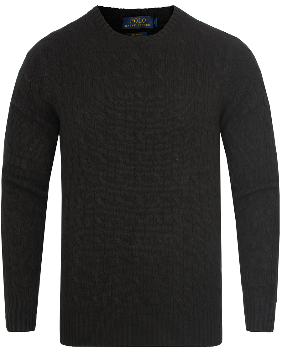 Polo Ralph Lauren Cashmere Knitted Cable Polo Black hos