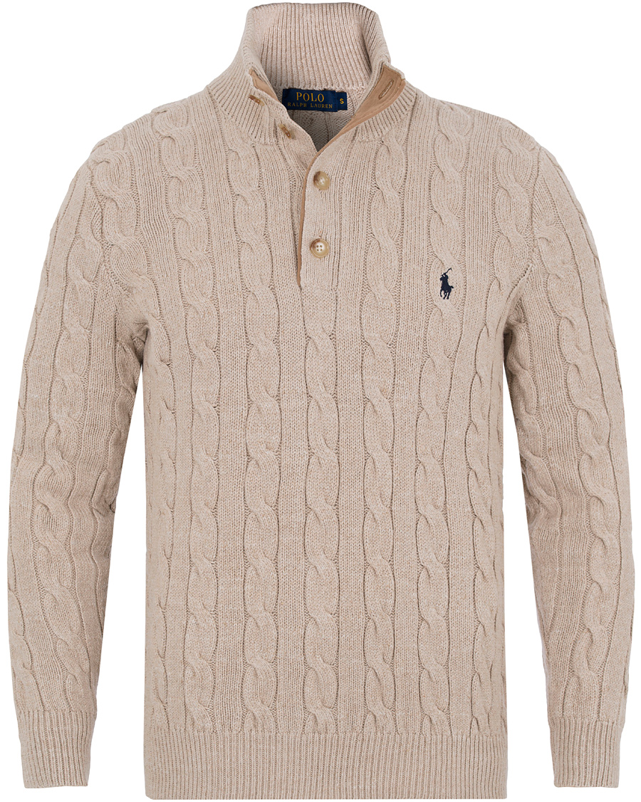 Polo Ralph Lauren Knitted Cable Tussah Silk Half Button