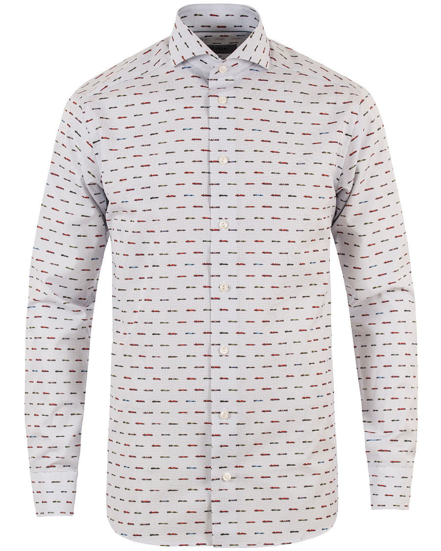 Eton Slim Fit Car Print Poplin Shirt White hos CareOfCarl.com e630b74b501e3