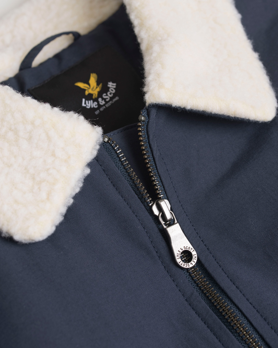 3b819d511ef Lyle   Scott Shearling Lined Bomber Jacket Navy hos CareOfCarl.co