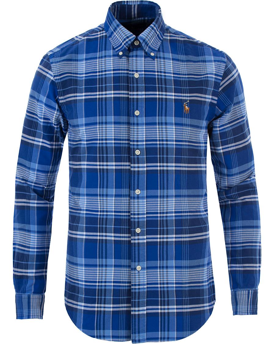 21c7794cc3d73 Polo Ralph Lauren Slim Fit Oxford Check Shirt Navy Blue hos CareO