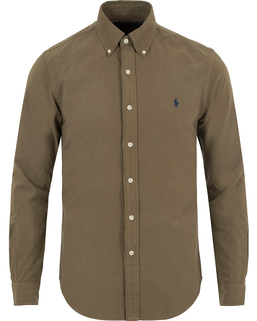 41bc359b1 Polo Ralph Lauren Slim Fit Garment Dyed Oxford Shirt Olive hos Ca