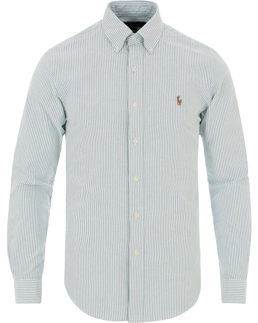 0061304a0 Polo Ralph Lauren Slim Fit Oxford Stripe Shirt Green White hos Ca