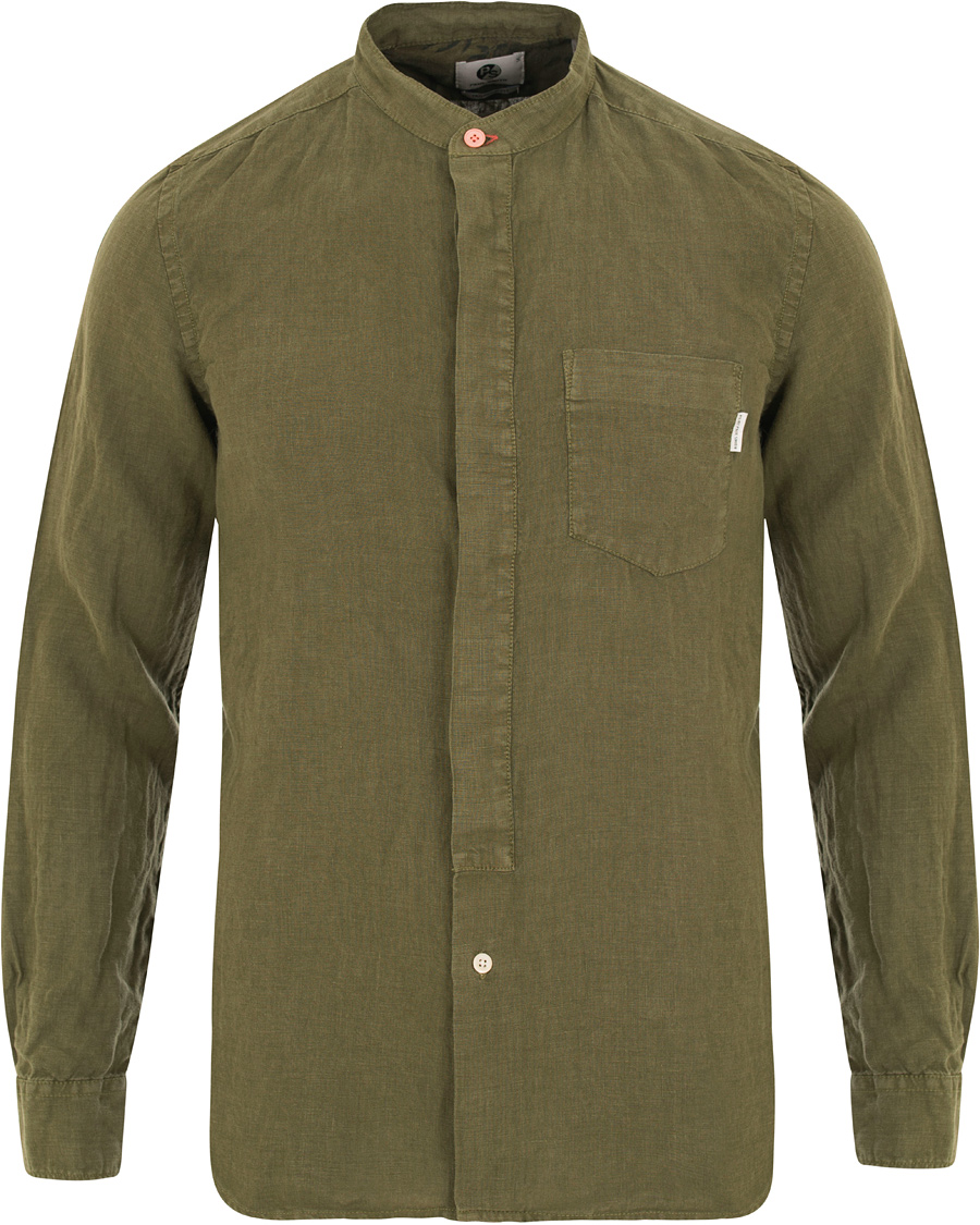 PS By Paul Smith Slim Fit Linen Shirt Army Green hos CareOfCarl.c 25278981acf48