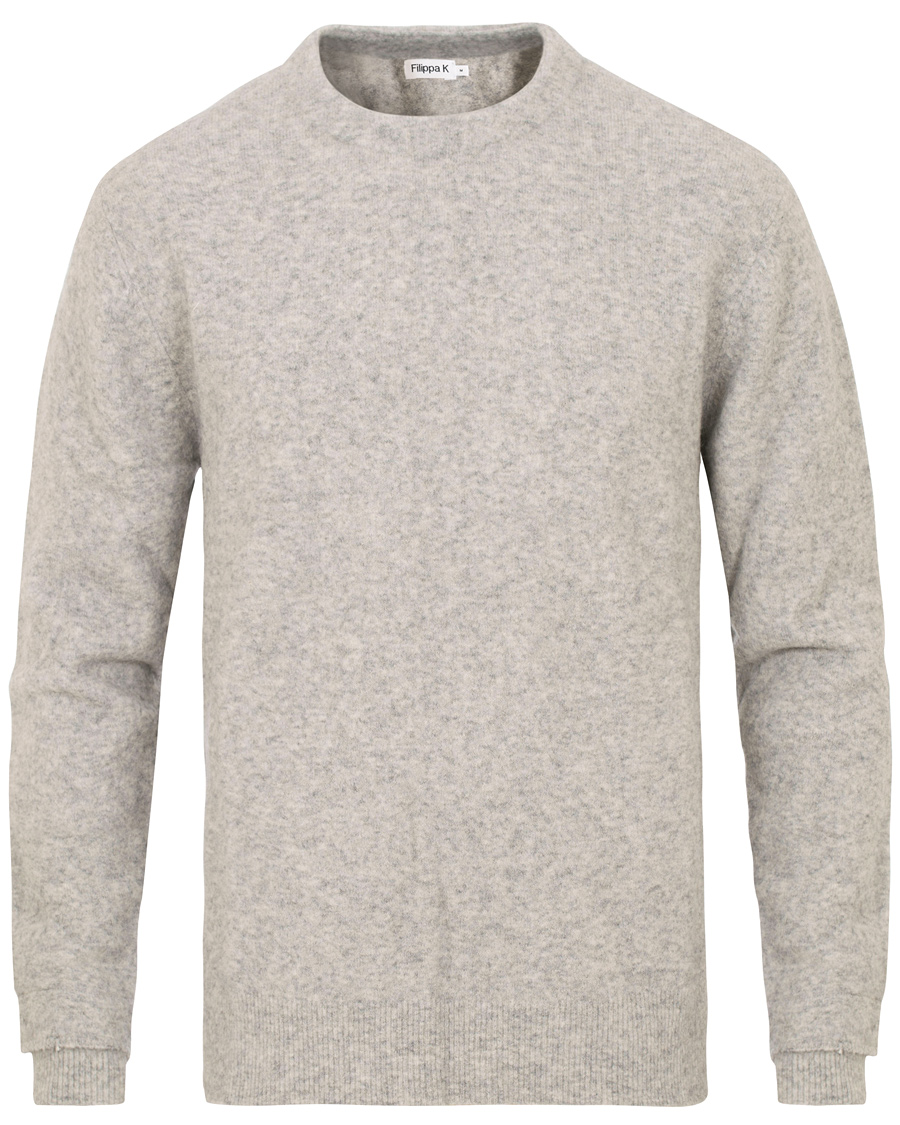 e35fdd77b3e7 Filippa K Wool/Yak Crew Neck Light Grey Melange hos CareOfCarl.co