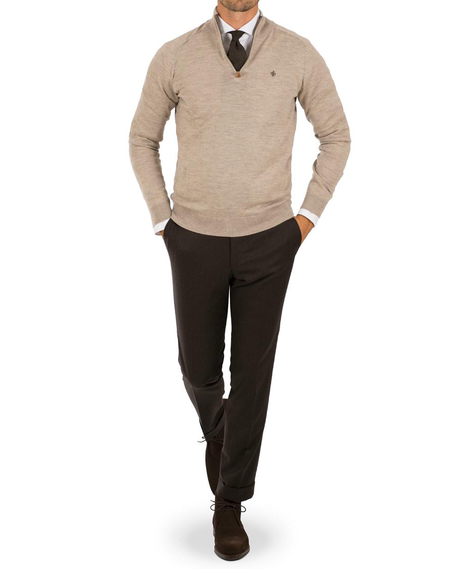 423b6f06 Morris Merino John Half Zip Sweater Khaki hos CareOfCarl.com