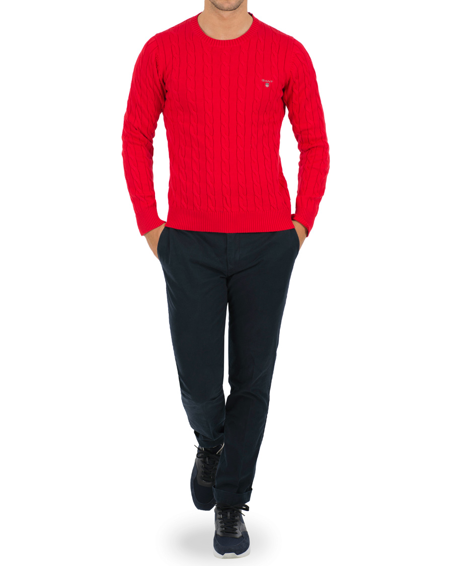 GANT Cotton Cable Crew Pullover Bright Red hos