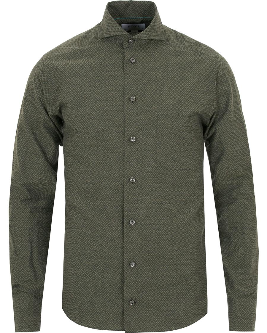 Eton Slim Fit Lightweight Flannel Printed Shirt Green hos CareOfC 612fcf9a8f667