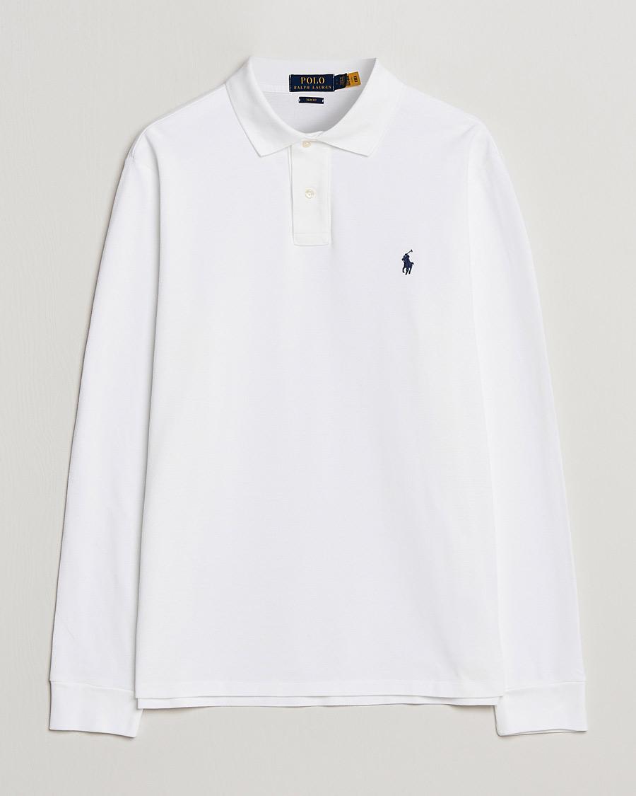 6340667cebd Polo Ralph Lauren Slim Fit Long Sleeve Polo White hos CareOfCarl.