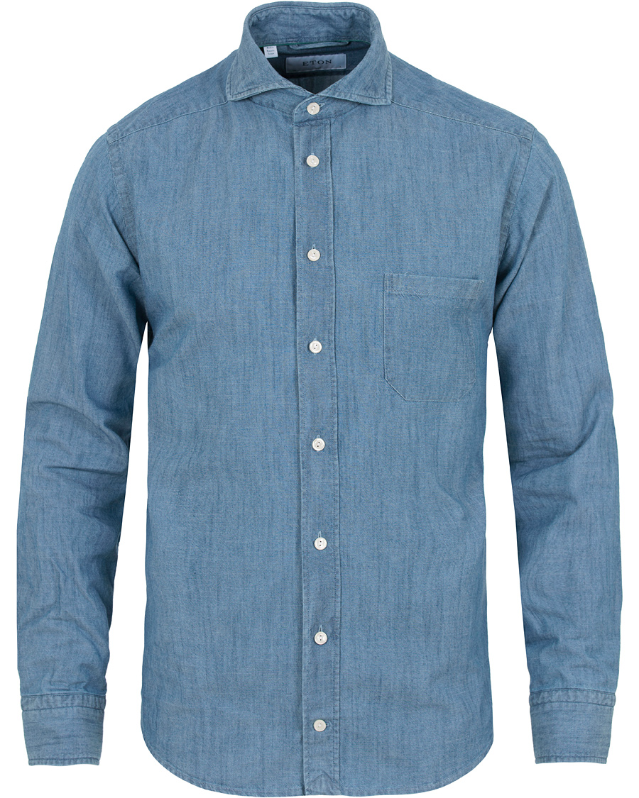 14e9ba21f5 Eton Slim Fit Denim Cut Away Shirt Indigo Blue hos CareOfCarl.com