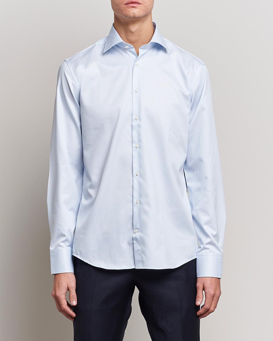Stenströms Fitted Body Thin Stripe Shirt White Blue hos CareOfCar 9fe0105e30553