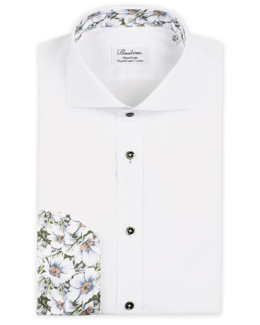 Stenströms Fitted Body Cut Away Contrast Shirt White hos CareOfCa e807e412e90a7