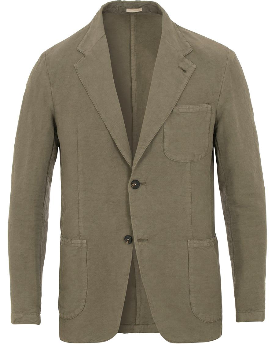 Massimo Alba Benetti Cotton Linen Blazer Washed Army Green hos Ca e7a01bbf6e4b6
