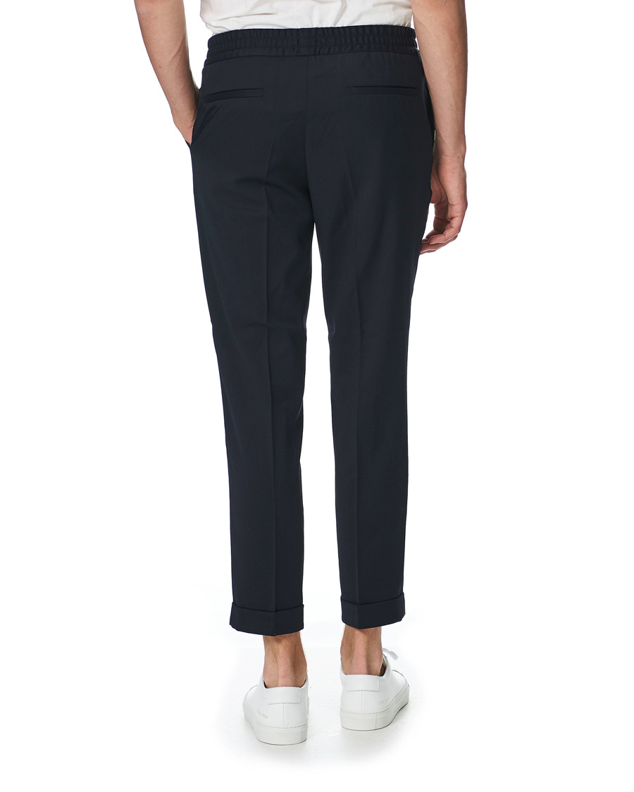 34cb19d6ee93 Filippa K Terry Gabardine Turn Up Trousers Navy hos CareOfCarl.co