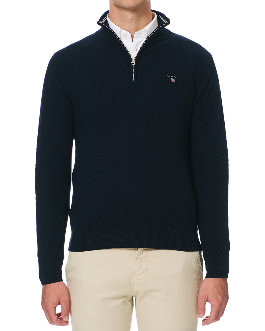 c4248882 GANT Cotton Pique Half Zip Evening Blue hos CareOfCarl.com