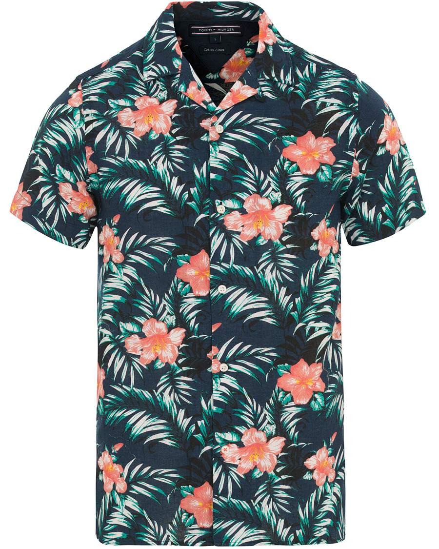 Gymnast konsert vattnig  Tommy Hilfiger Slim Fit Printed Hawaiian Short Sleeve Shirt Navy