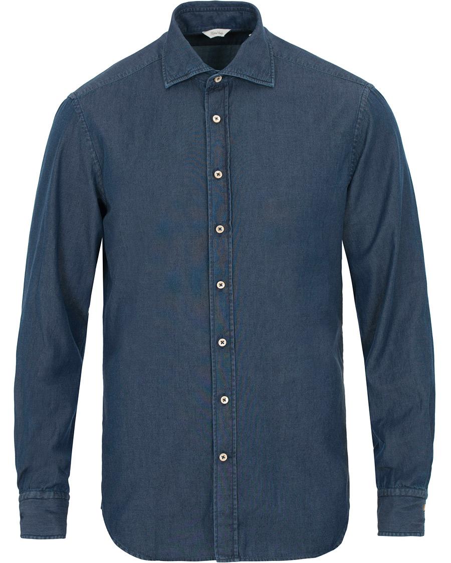 Stenströms Fitted Body Garment Washed Shirt Dark Denim hos CareOf 6a52969fbeb97