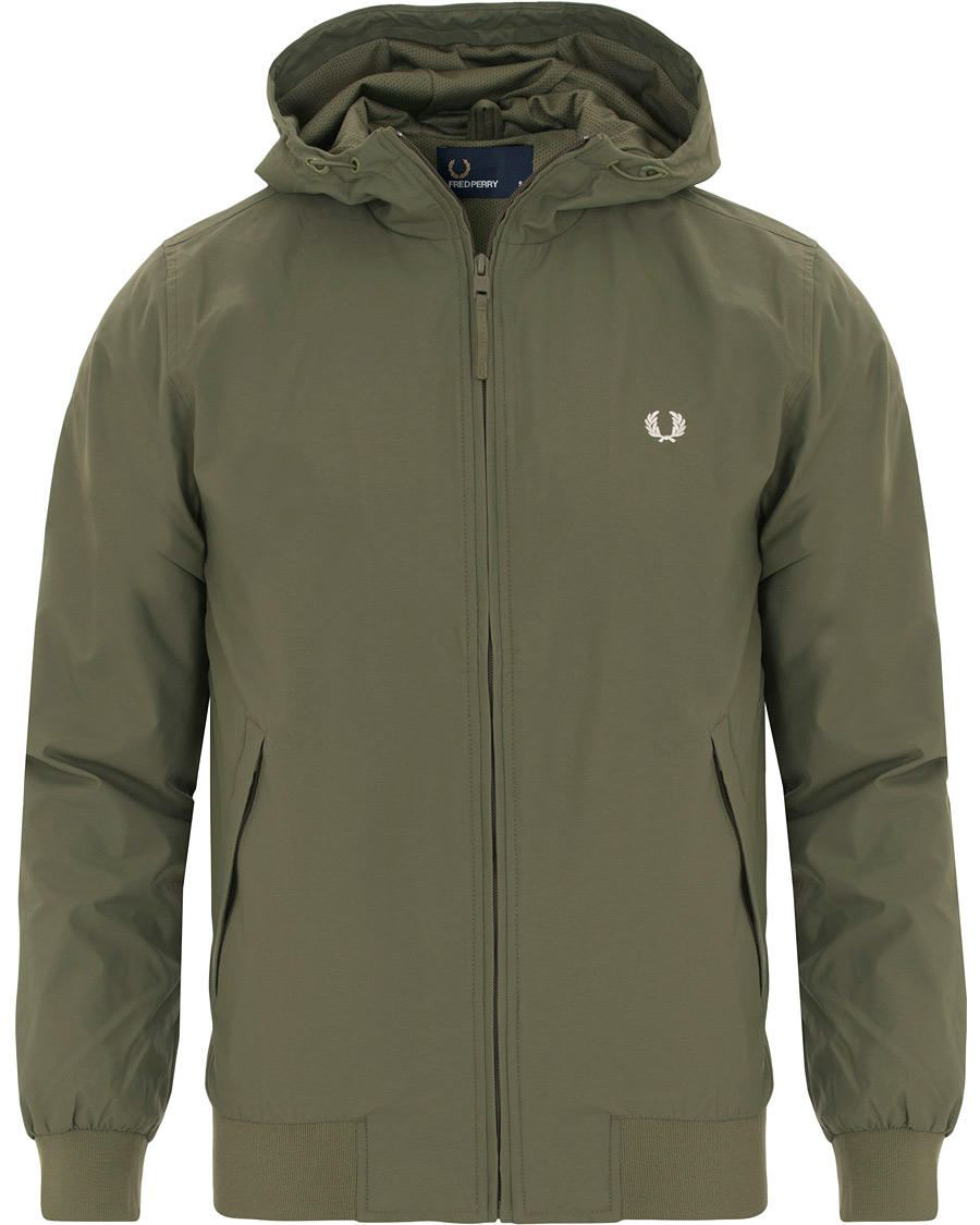 9af6e502ce2 Fred Perry Hooded Brentham Jacket Olive hos CareOfCarl.com