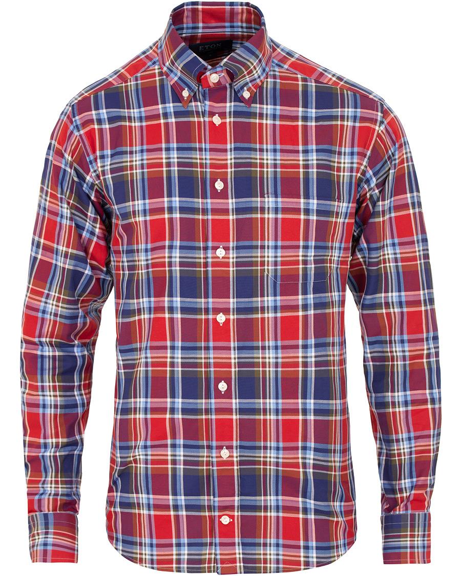 Eton Slim Fit Oxford Button Down Check Shirt Blue Red i gruppen Kläder    Skjortor 31c6376c505e8