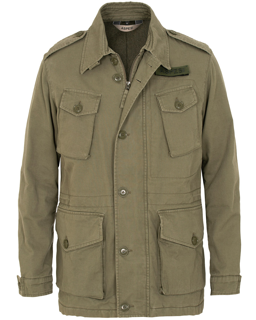 Aspesi Vancouver Lined Cotton Field Jacket Army Green hos