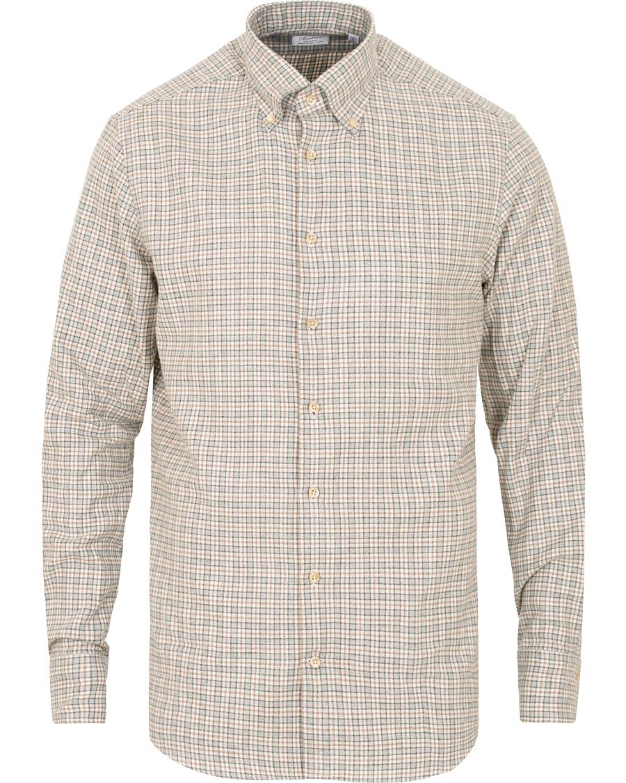 Stenströms Fitted Body Flannel Check Shirt Beige Grey hos CareOfC 861045fff21c3