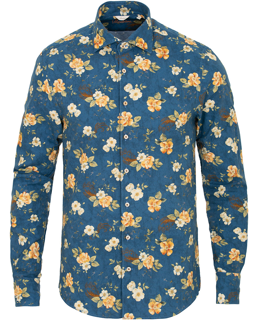 äkta kvalitet fantastiskt pris springa skor Stenströms Slim Fit Printed Flower Shirt Blue hos CareOfCarl.com
