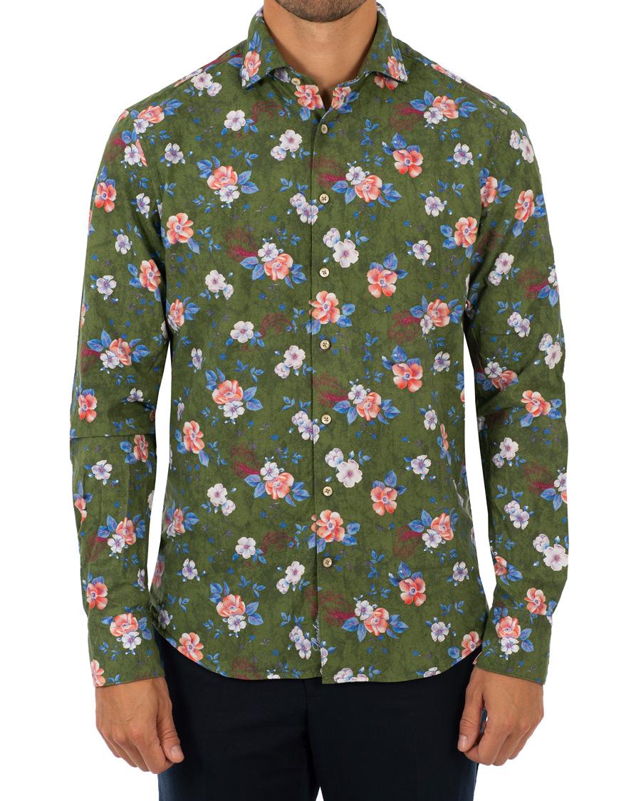 Stenströms Fitted Body Printed Flower Shirt Green hos CareOfCarl. b4c17bd2c11a6
