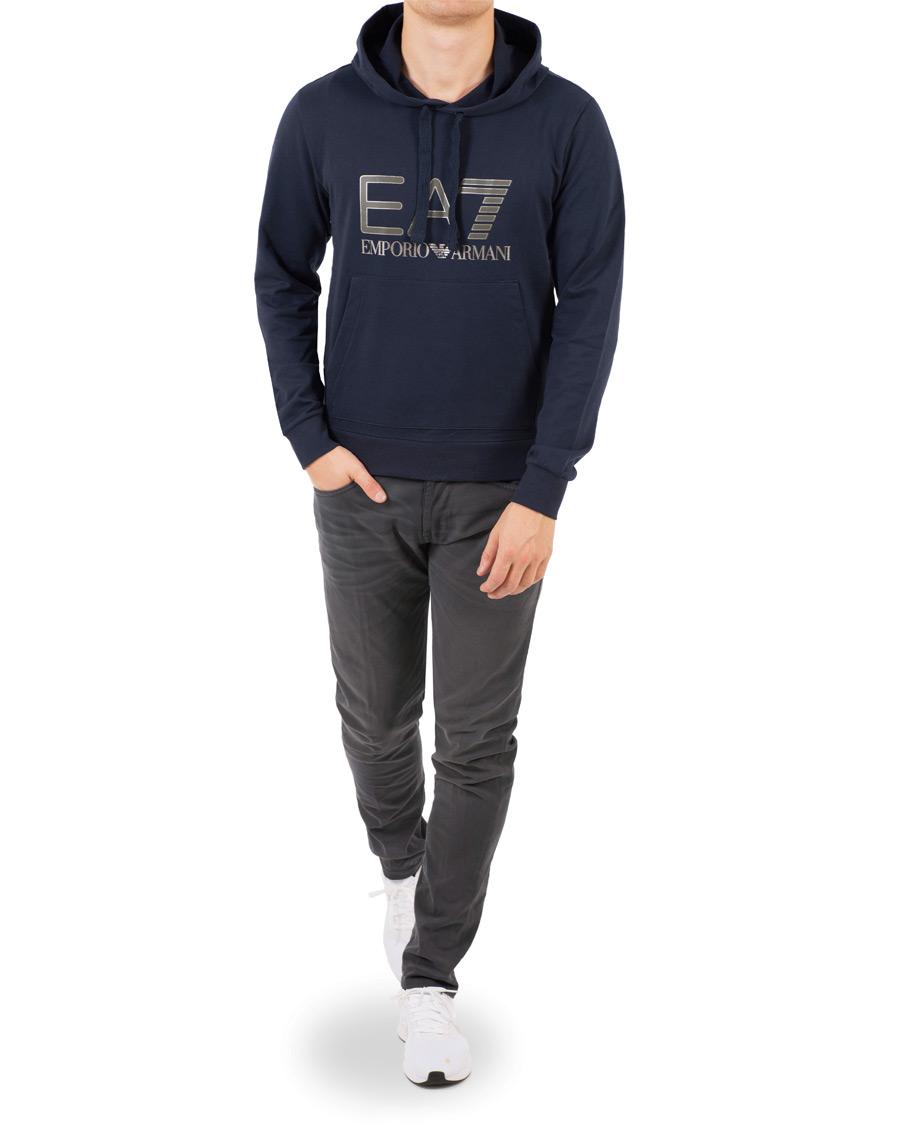 EA7 Train Logo Serious Pocket Hoodie Navy hos CareOfCarl.com 68097a7223c6f