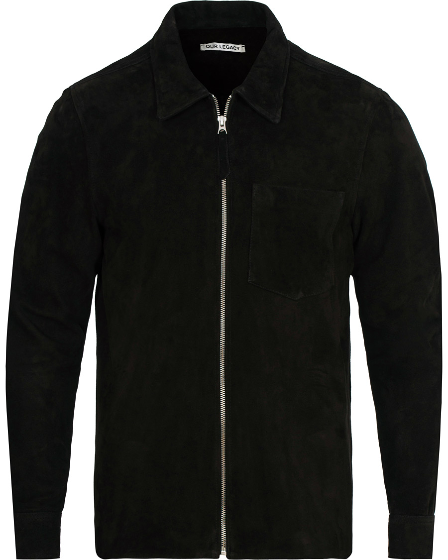 f31eac9fea75 Our Legacy Suede Zip Shirt Jacket Black hos CareOfCarl.com