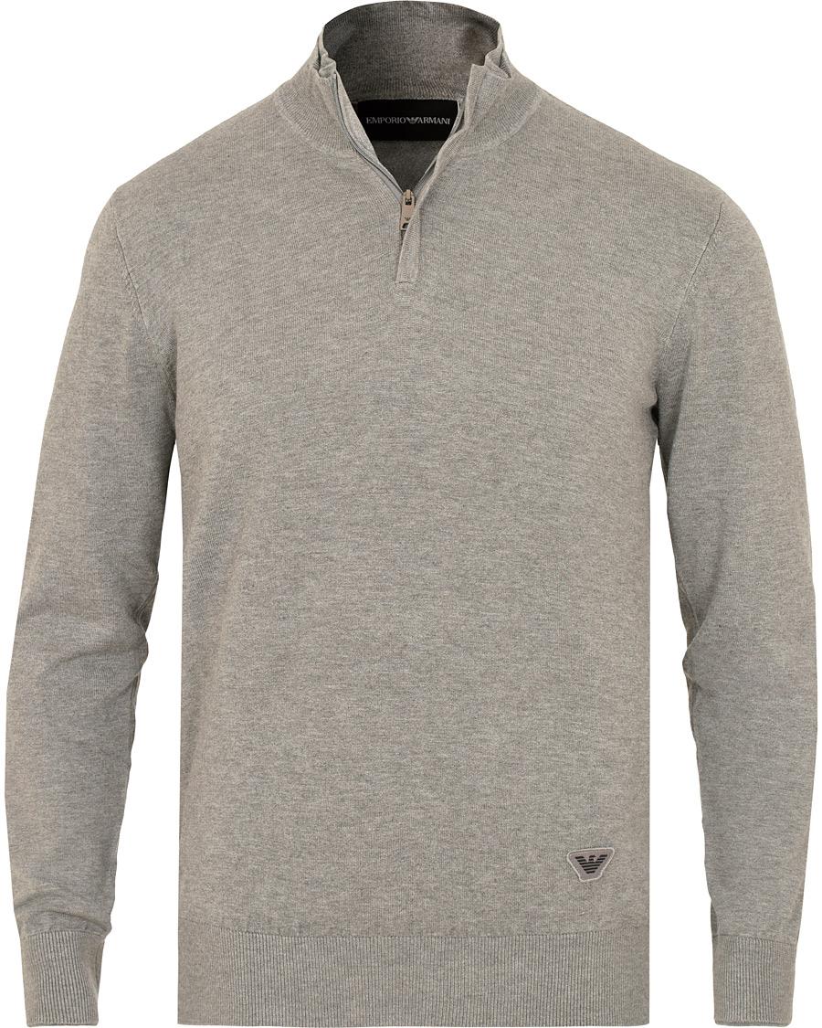 Emporio Armani Half Zip Sweater Grey Melange hos CareOfCarl.com ea92ad85dffcf
