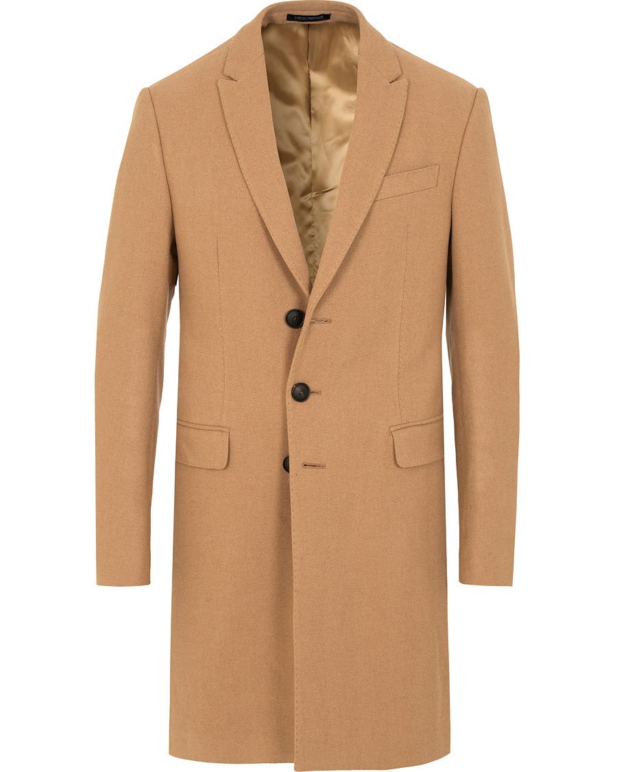 Emporio Armani Camel Hair Herringbone Coat Beige hos CareOfCarl.c 06d1c103e686b