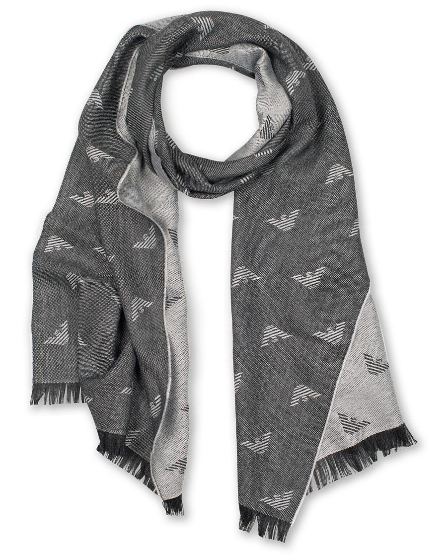 Emporio Armani Wool Mix Logo Scarf Grey hos CareOfCarl.com d3a1dd7ccf8fd